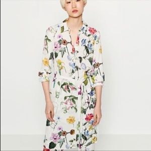 NWT Zara floral print shirt dress